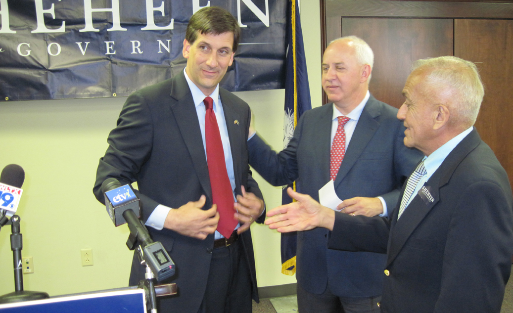 Vincent Sheheen in 2010 with his dad, Fred, and the last Democratic candidate for governor to do better than he did.